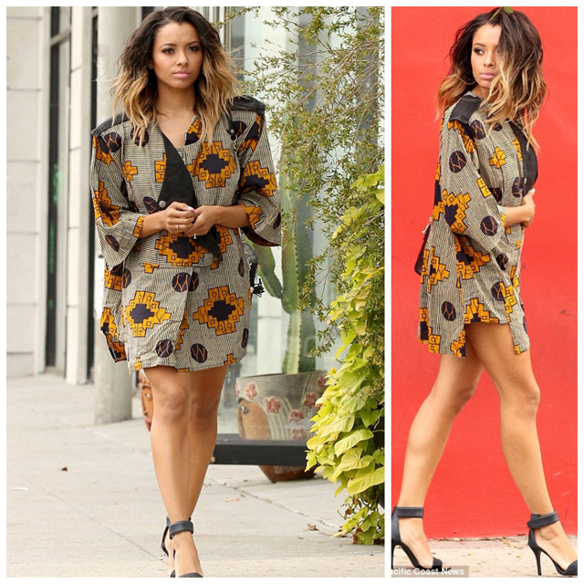 Actress Kat Graham mostly known for her role in TV series The Vampire Diaries,  was spotted spotted out and about in LA rocking this  oversize african print blazer or maybe its a dress.  What do you guys think about the look?
