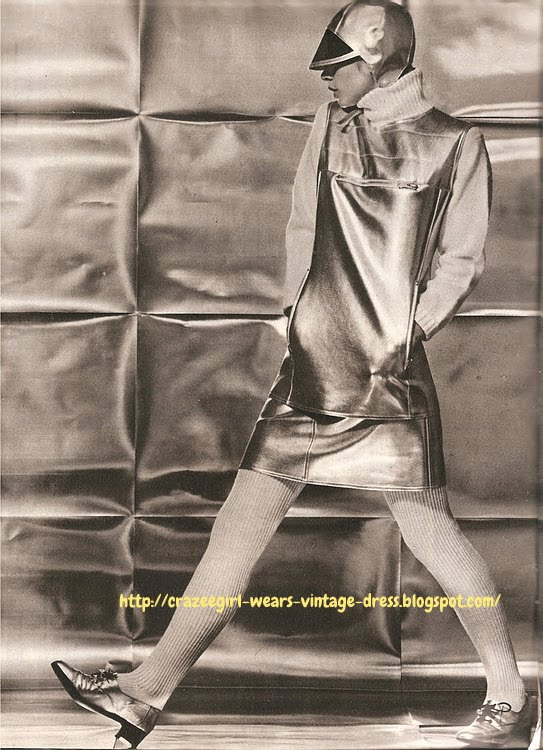 Silver vinyl top and mini skirt - V de V - 1966 Michele Rosier space age cap hat