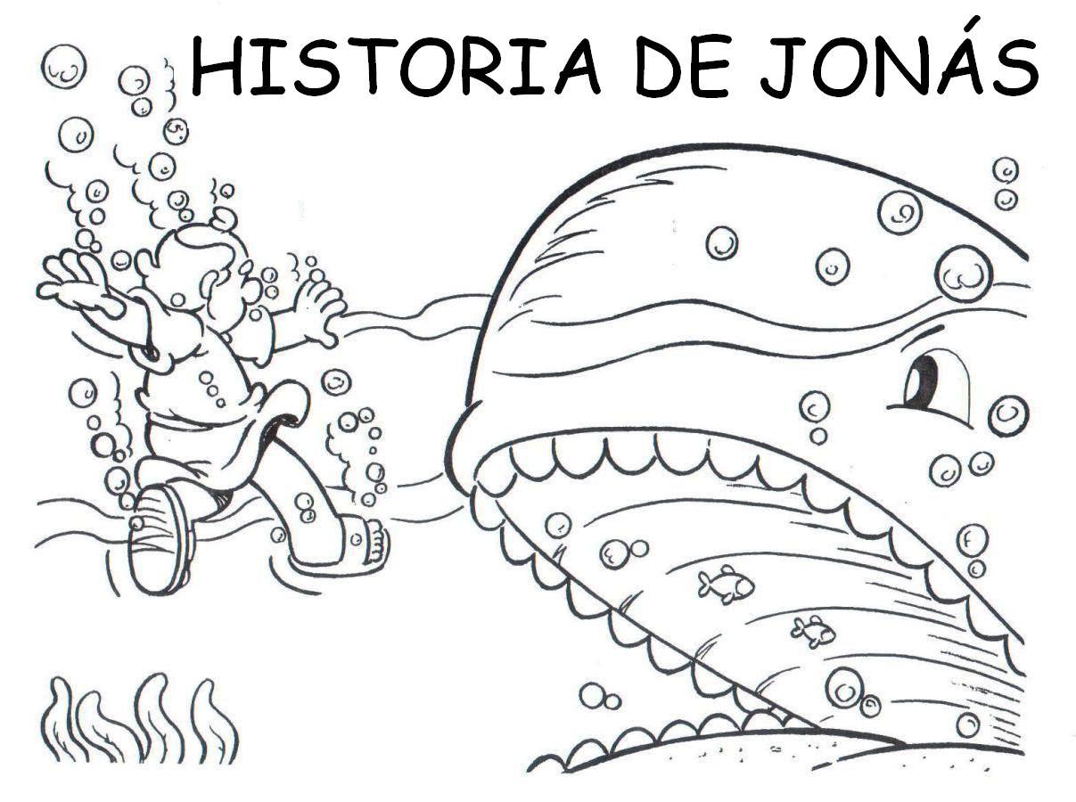 Para colorear y confeccionar el libro de la historia de Jonás .