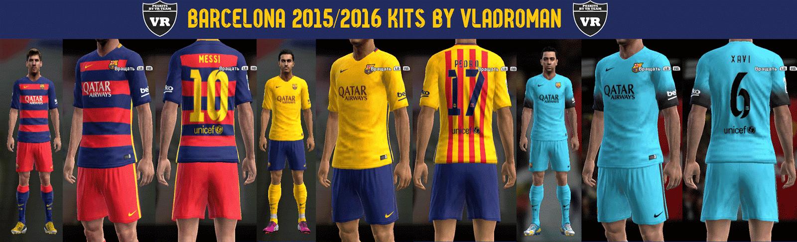 PES 2013 FC Barcelona 15/16 kits by vladroman