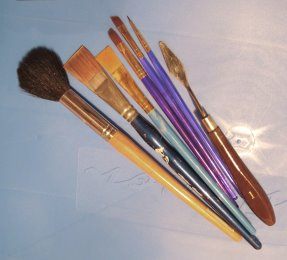 paint brushes and palette knife