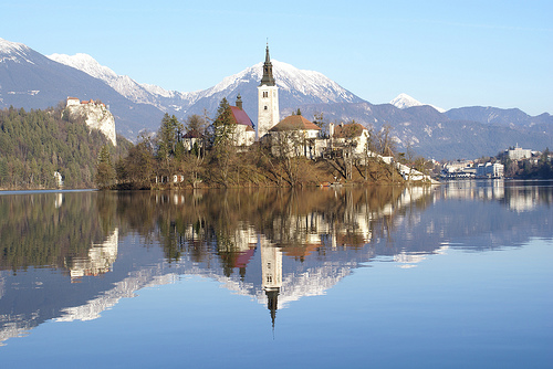 castle church lake europe