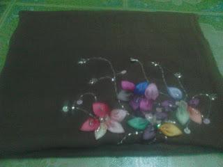 tudung, bawal, bunga, manik, atas, kepala, harga, murah, jual online, dua, tona, menarik, cantik