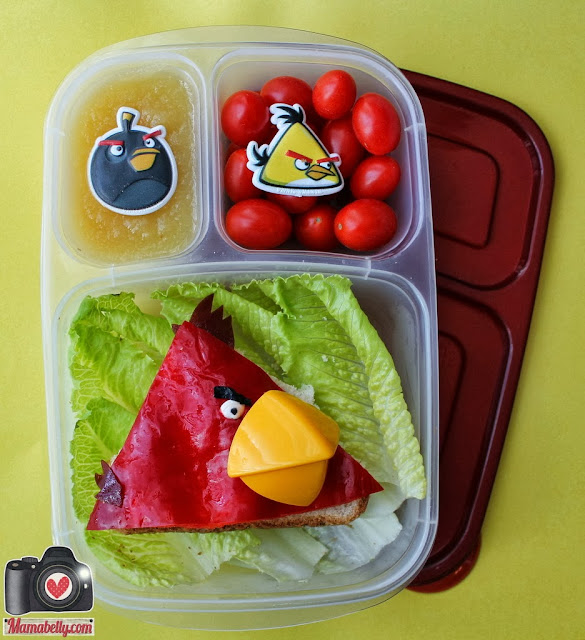 Red Angry Bird Lunch in Easylunchboxes - www.mamabelly.com