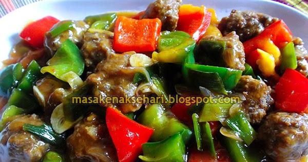 resep paprika tumis bola bola daging sapi
