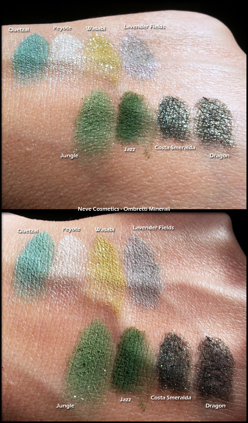 Neve Cosmetics - Ombretti Minerali - Swatch di Quetzal, Peyote, Wasabi, Lavender Fields, Jungle, Jazz, Costa Smeralda e Dragon
