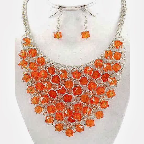 Orange Cluster Necklace Set