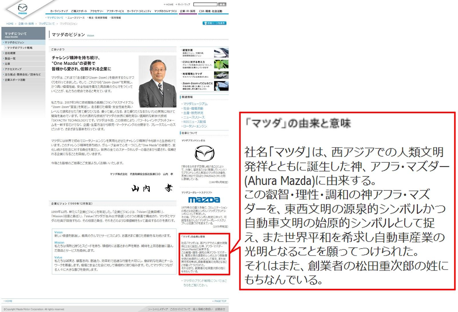 MAZDAの公式サイト(2012年7月現在)にも、ハッキリと記載されています。 Wikipedia:ゾロアスター教