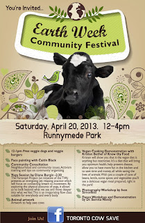 Earth Week Festival, April 20, 12-4 at Runnymede Park, flyer by Toronto Cow Save