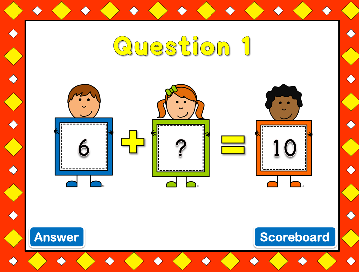 ... missing number is includes swivel animations when you click on answer
