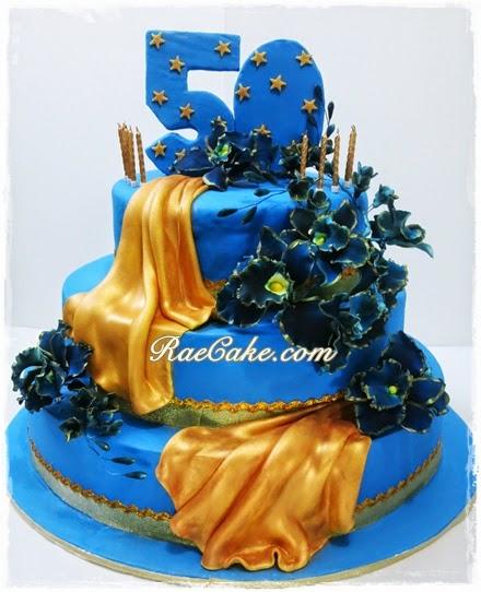 50th Blue Gold Birthday Kue Ulang Tahun Birthday Cake