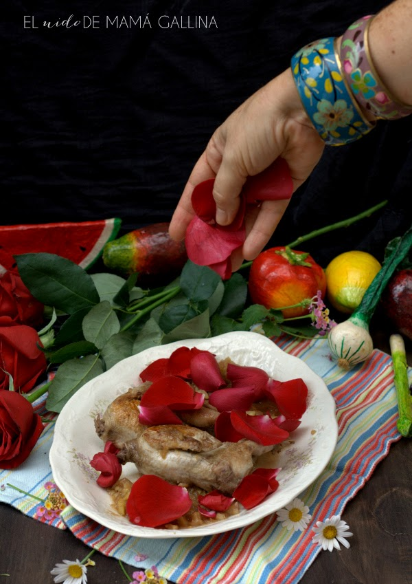 quail with roses