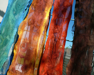 silk summer scarf, nuno felted