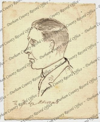 Pencil drawing of the head of an unidentified officer, 'the Judge Advocate', at an unidentified court martial, c.1918 (D/DLI 7/662/3(30))