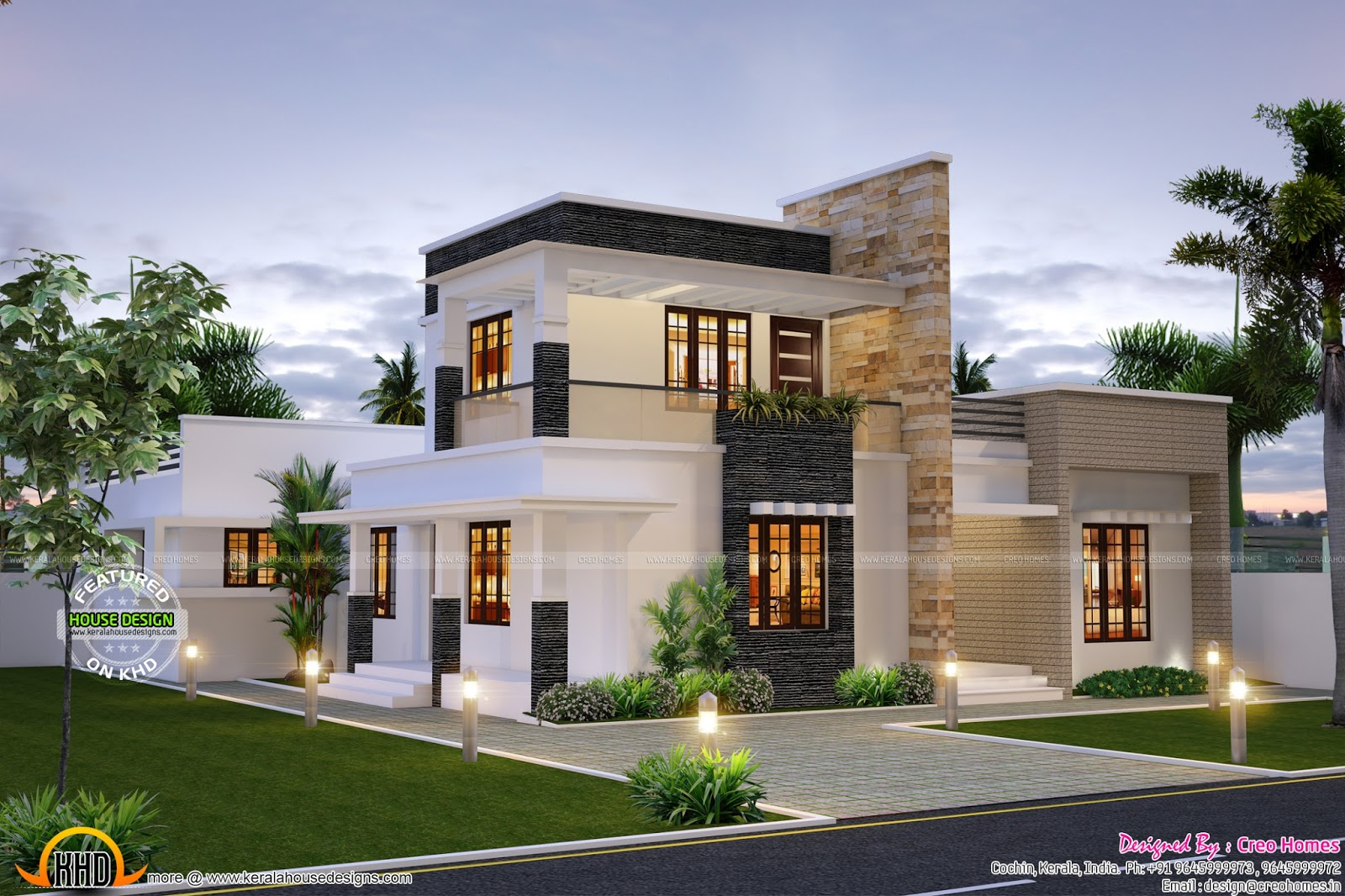 Cute contemporary home kerala home design and floor plans for Contemporary mansions