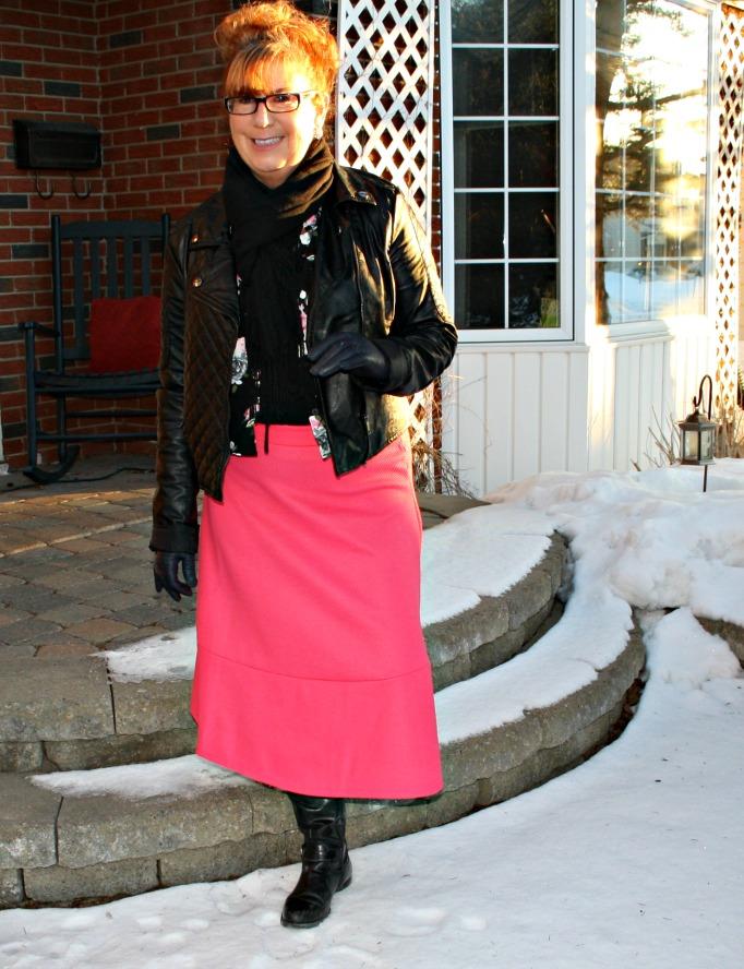 h m Floral Shirt Pink Skirt
