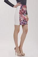 Fusta alba cu imprimeu floral F15 (Ama Fashion)