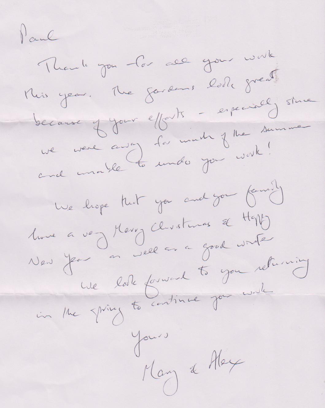 Paul Jung Gardening Services testimonial from Alex Norton, Toronto, December 2011