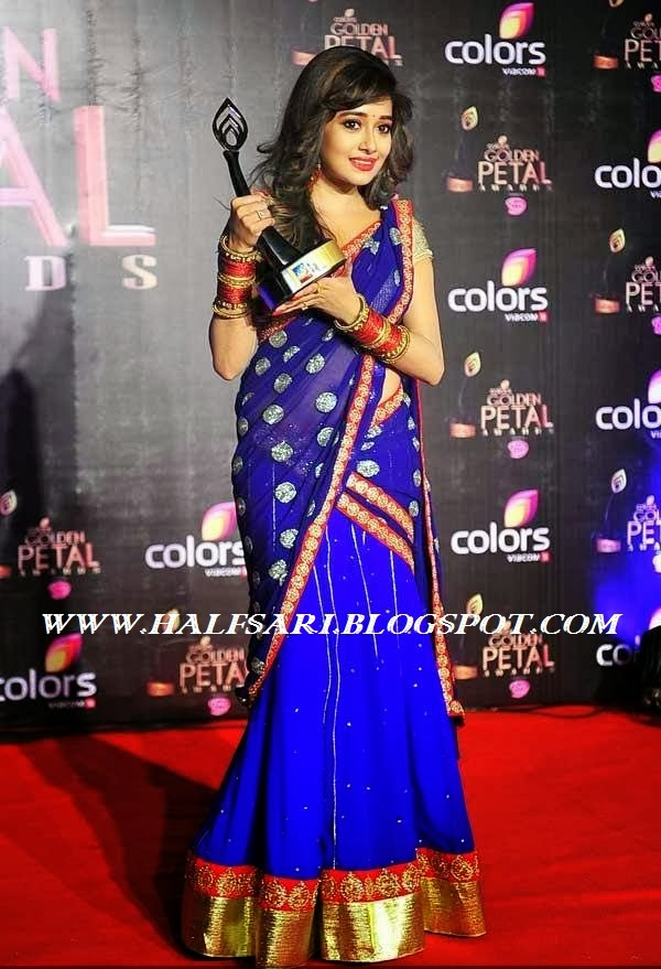 TV SERIAL ACTRESS TINA DUTTA IN BLUE DESIGNER HALF SAREE