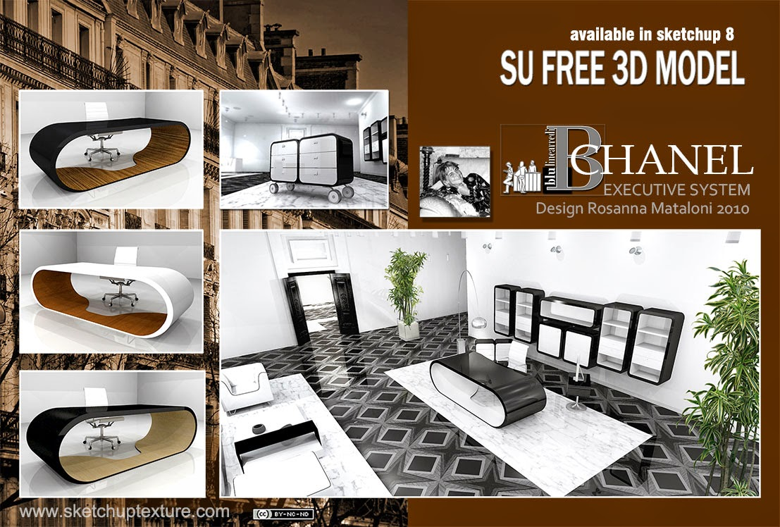 Free sketchup 3d model chanel executive office for Arredi sketchup