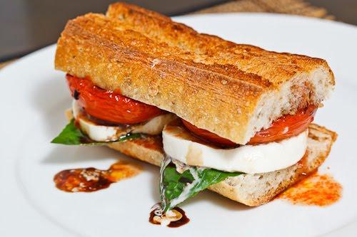 Balsamic Roasted Tomato Caprese Sandwich Recipe — Dishmaps
