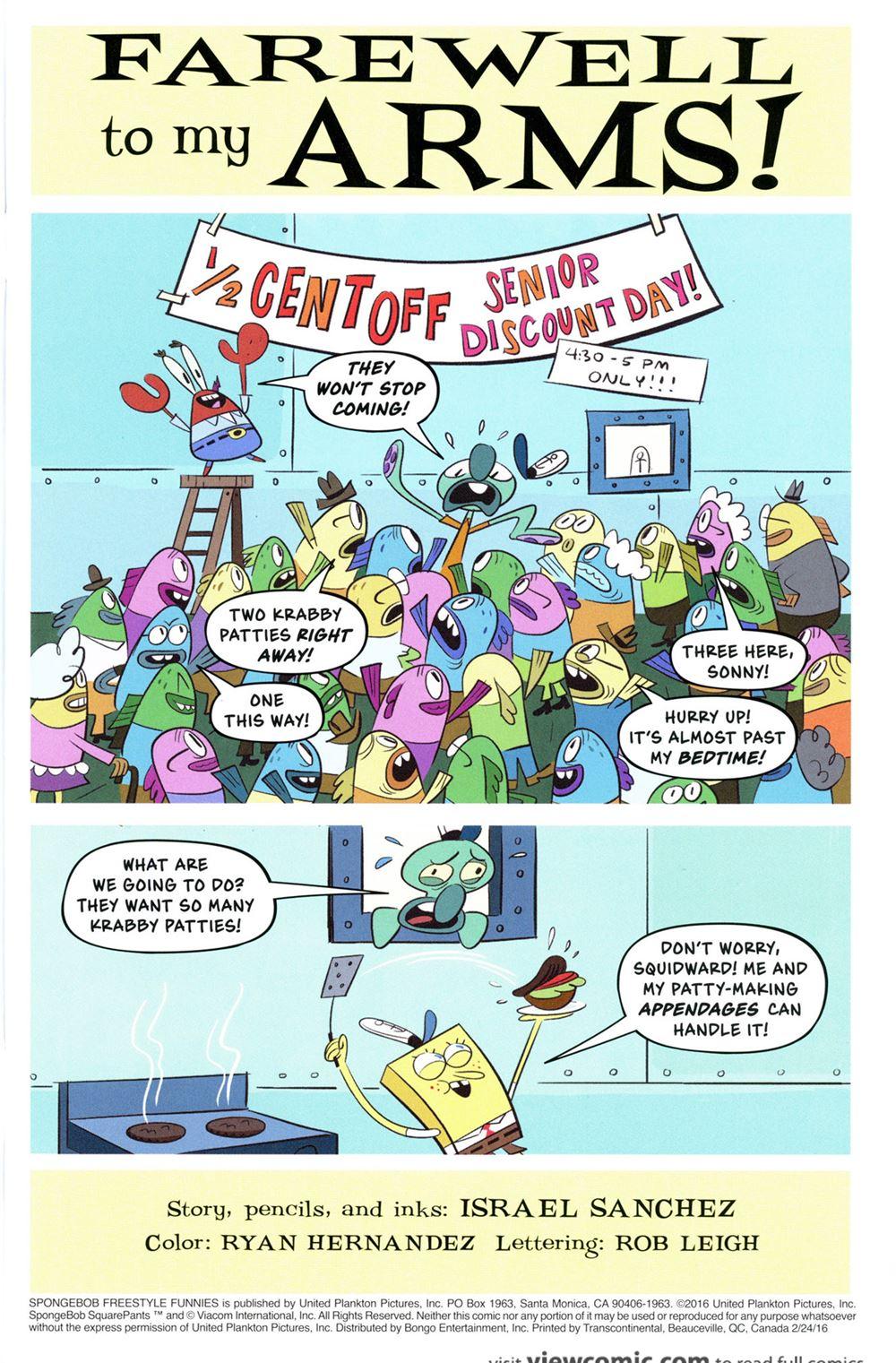 free comic book day 2016 u2013 spongebob freestyle funnies 2016 fcbd