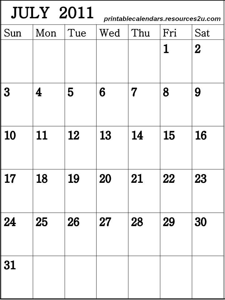 blank calendar 2011. Blank Calendar 2011 July