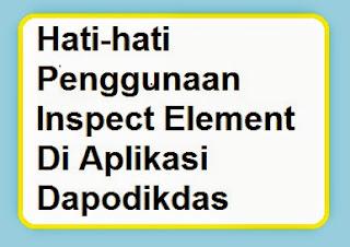 Hati-hati Penggunaan Inspect Element Di Aplikasi Dapodikdas