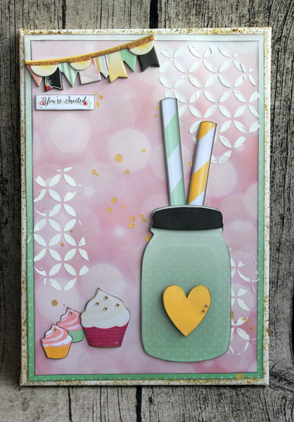 You're Invited Mixed Media Canvas by Ulrika Wandler using BoBunny You're Invited Collection