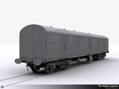 Fastline Simulation - The Night Capitals: Final clay render of the Generic GUV shape created to allow specific version creation for RailWorks 3 Train Simulator 2012. This is an as built GUV with vacuum brakes, through seam pipe and the foot boards are yet to be removed to avoid damage from BRUTE trollies.