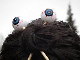 Eyeball hair sticks