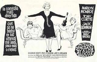 Dibujo en blanco y negro de la película Con faldas y a lo loco