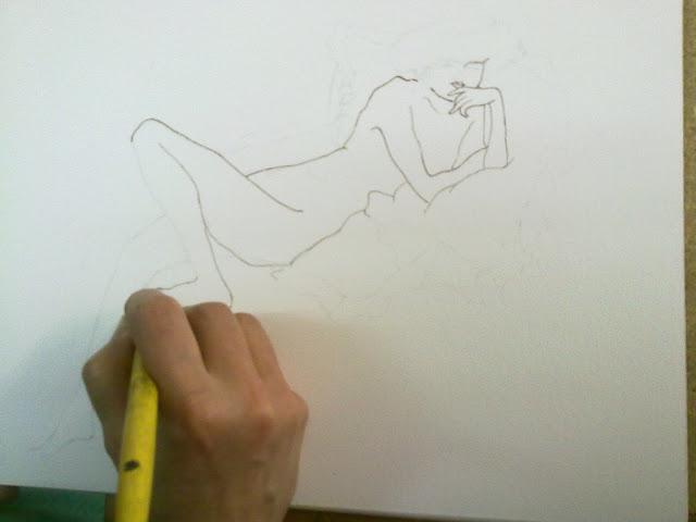 dibujo de modelo a tinta
