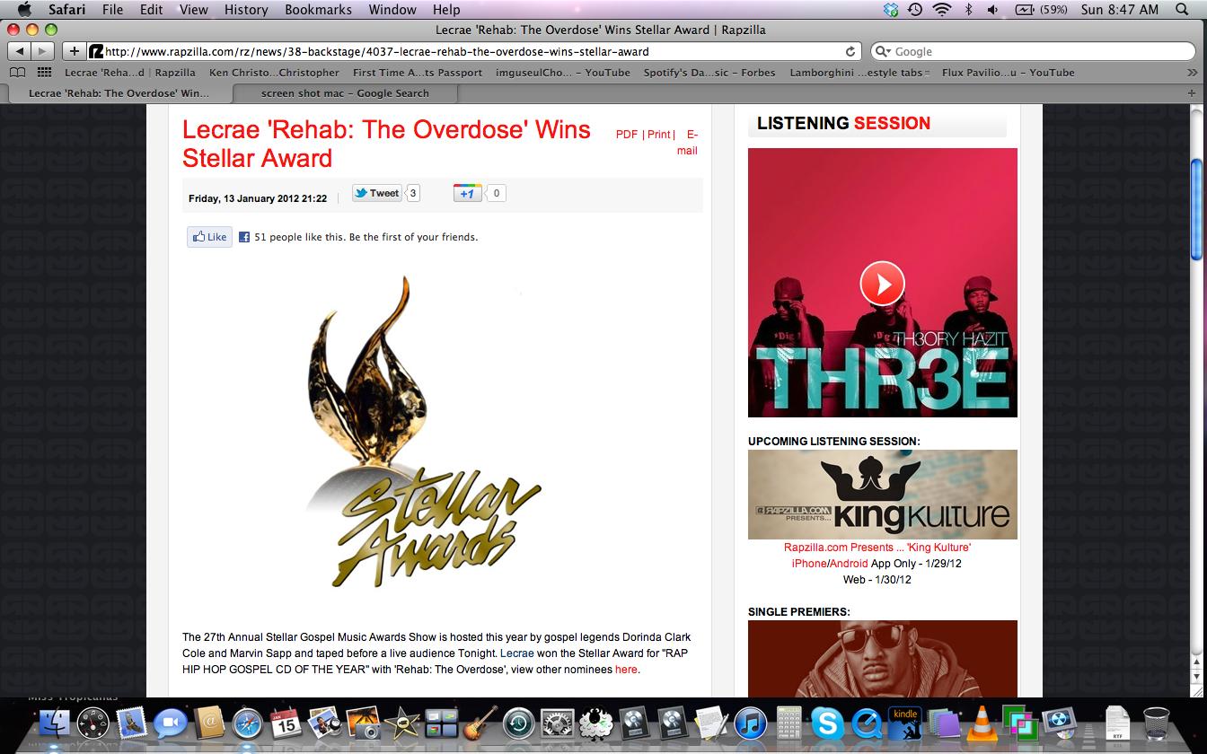 Stellar Award win for Lecrae  quot Rehab  The Overdose quot Rehab The Overdose Lecrae