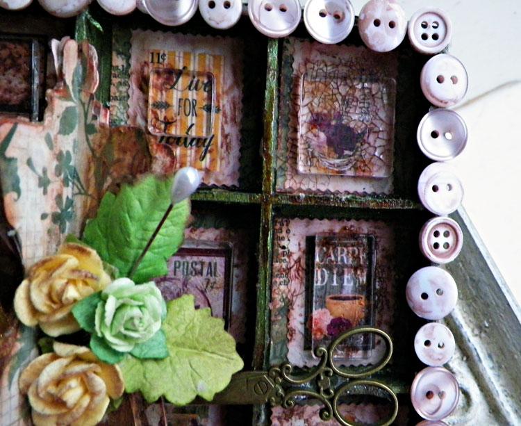 Close up 01 of Dress Form Shadowbox by Lisa Novogrodski using BoBunny Rose Cafe