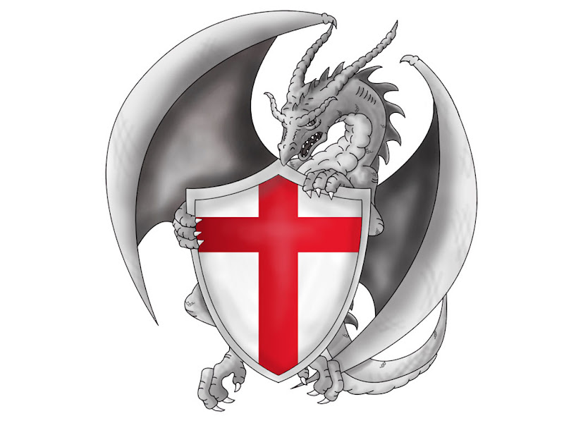 tattoo design of drag on which taking shield with english flag on it title=