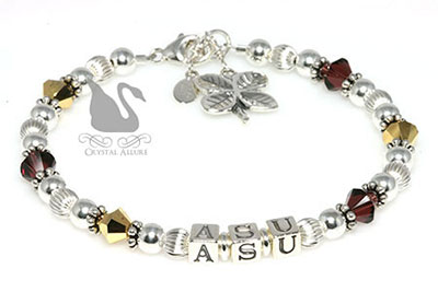 Karen's Custom Crystal Good Luck ASU Graduate Bracelet (B112)