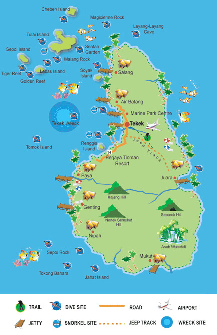 Tioman island map with diving sites, hiking trails, beaches and hills, snorkel sites, jetties, airport, jeep tracks and wreck sites.