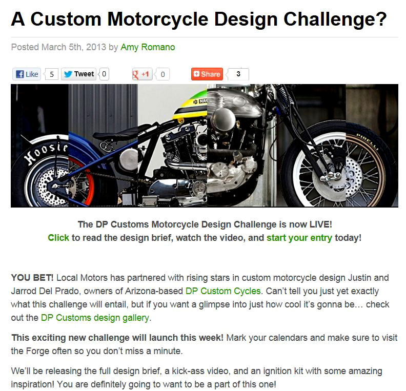 Just A Car Guy Custom Bike Design Challlenge From Local