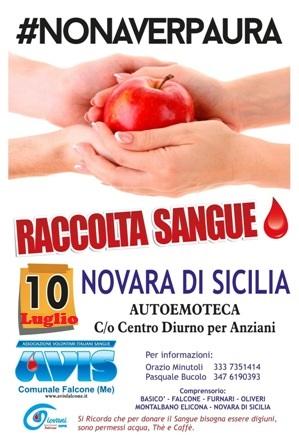 RACCOLTA SANGUE IL 10 LUGLIO A NOVARA DI SICILIA