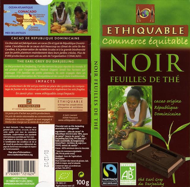 tablette de chocolat noir gourmand ethiquable république dominicaine noir feuilles de thé
