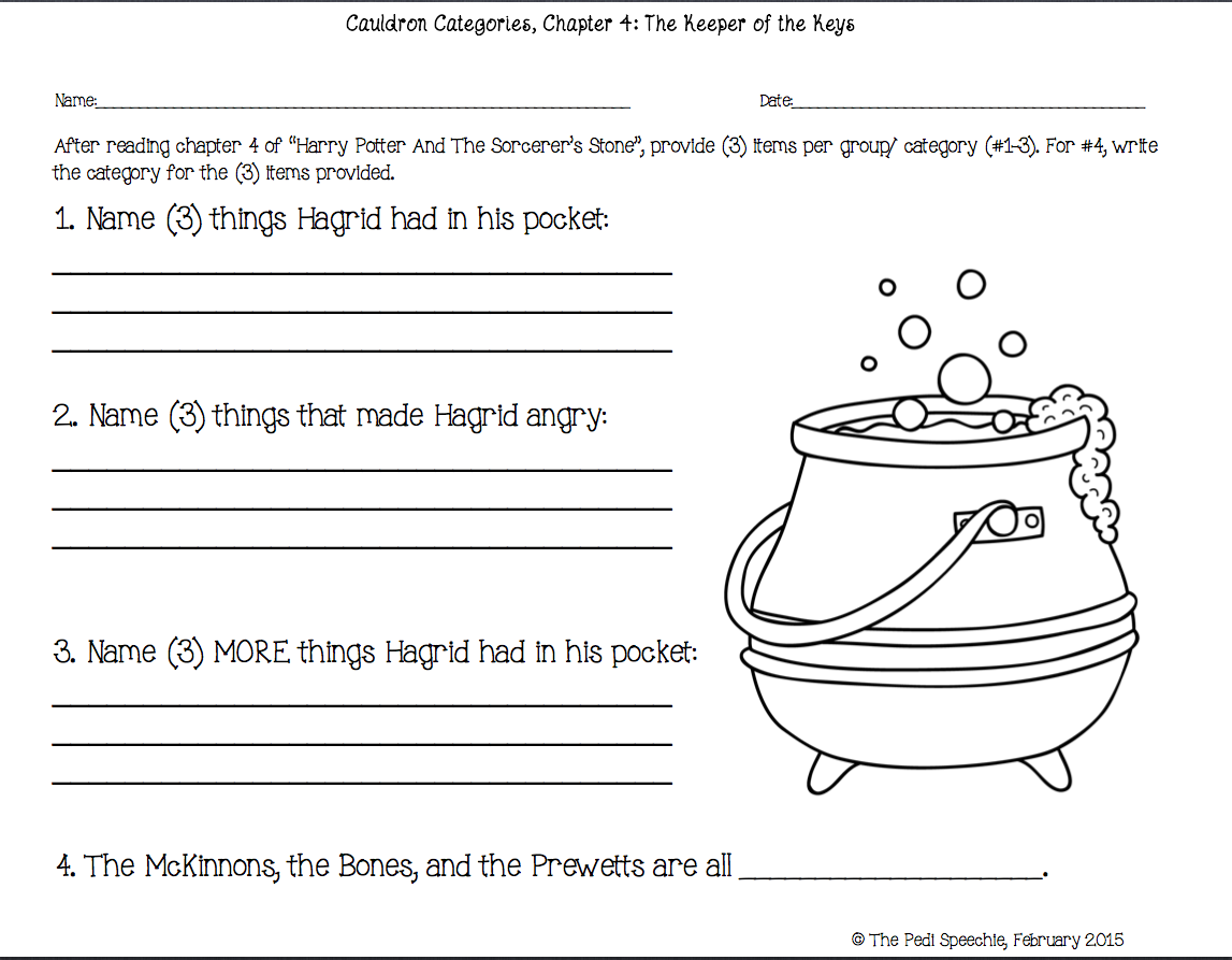 The Pedi Speechie May 2015 – Harry Potter Worksheets