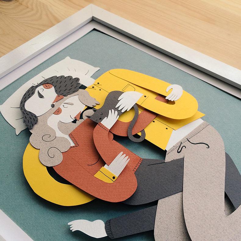 Retratos de familia ilustrado con papel por Jotaká