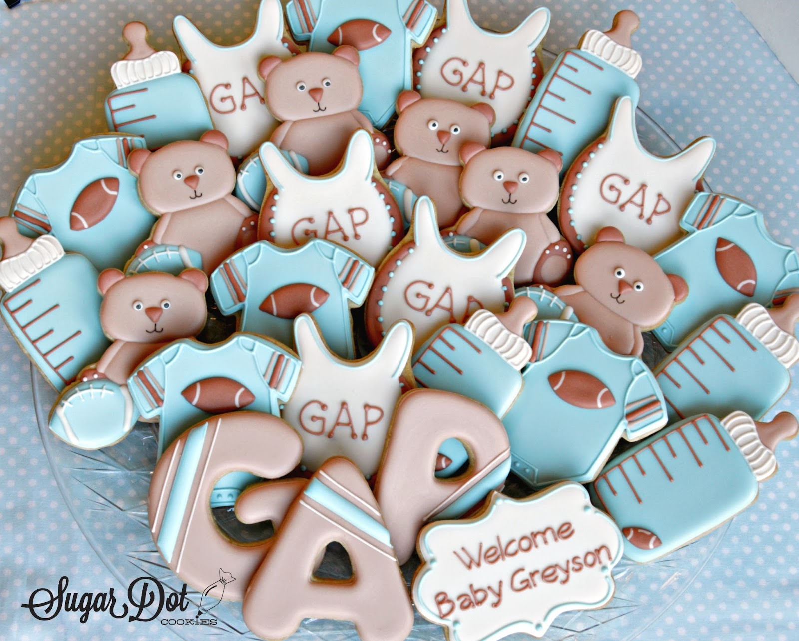 Decorate Baby Bibs Sugar Dot Cookies Baby Shower Cookies Football Theme