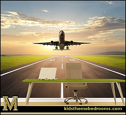 Decorating theme bedrooms maries manor airplane theme for Aeroplane wall mural