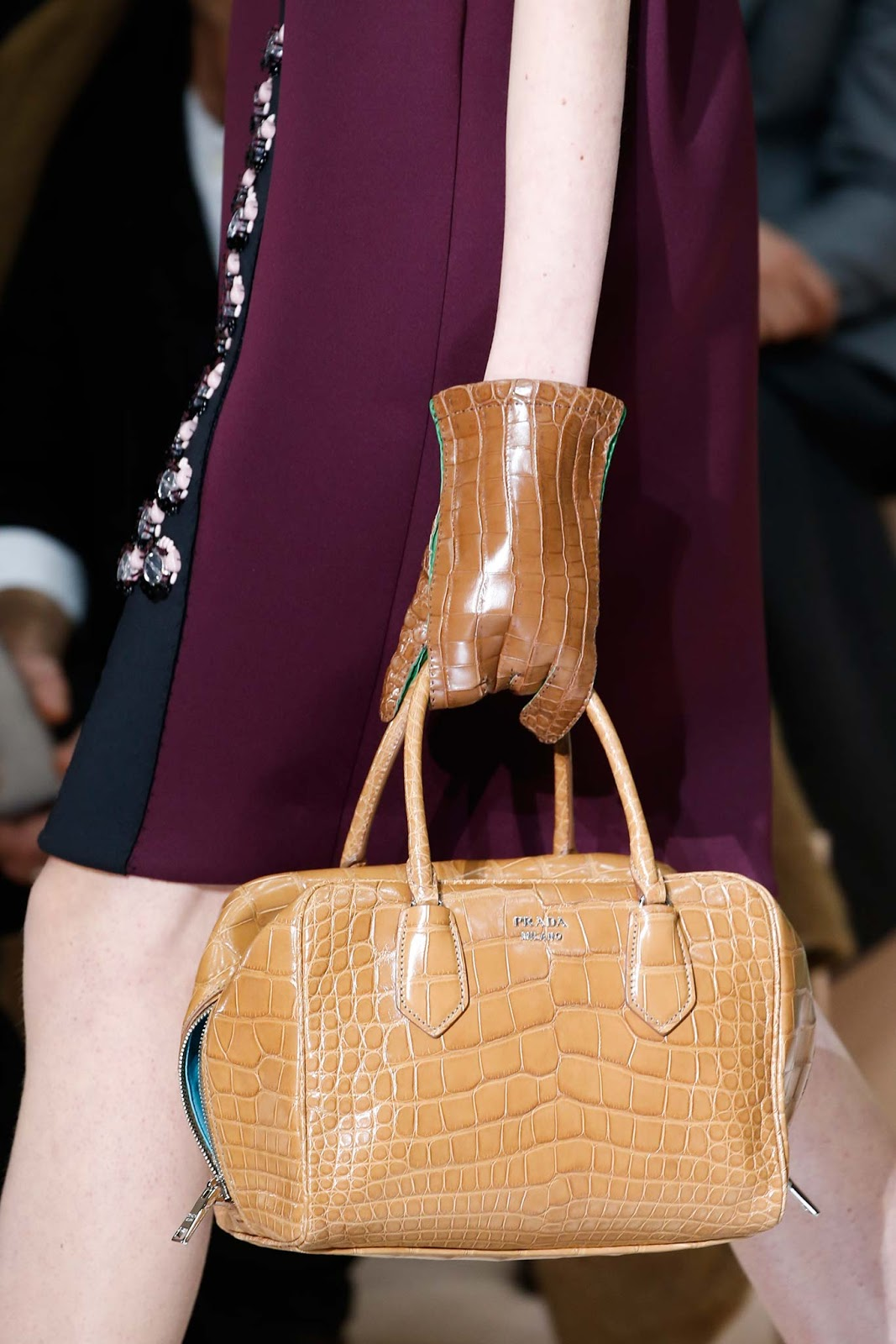 Fall 2015 accessories trend report / best bags / investment bags / crocodile accessories trend at Prada Fall/Winter 2015 via fashionedbylove.co.uk, british fashion blog