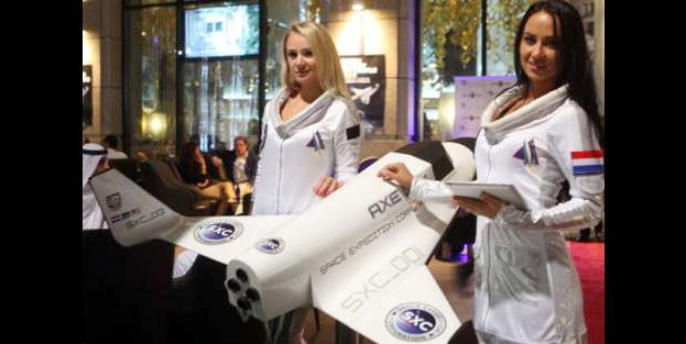 Models during the launch of the GCC's first space tourism programme at Fashion Cafe, Downtown Dubai. Credit: Image Credit: Arshad Ali/Gulf News