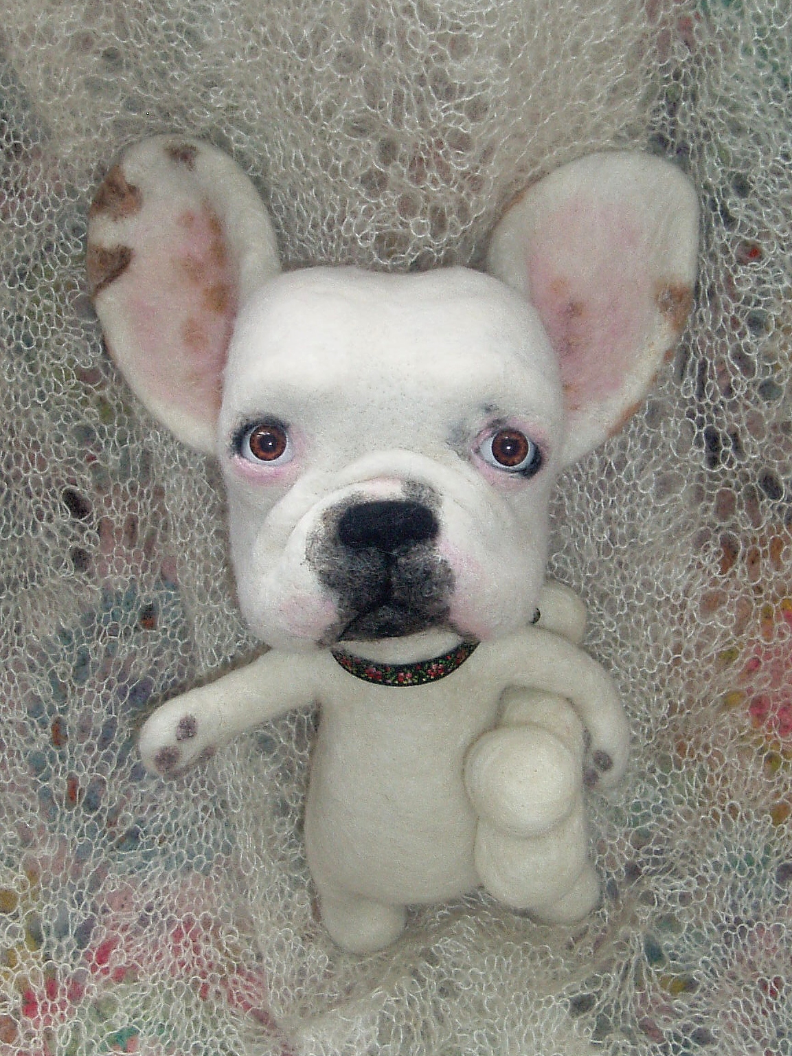 nicola's needle felted dogs charles  a needle felted french bull dog - soulful charles