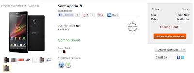 Xperia ZL Coming Soon in India via InfiBeam
