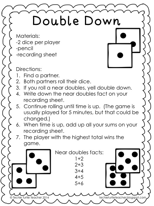 Techie Turtle Teacher freebie double down dice game for near – Dice Addition Worksheet